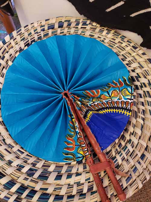 African Print Folding Fan from Ghana Turquoise