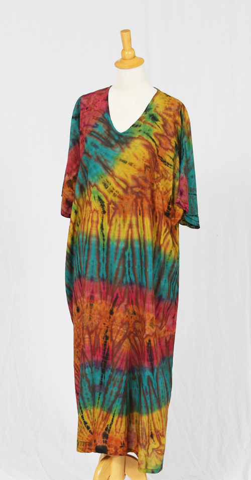 Tie-Dye V-neck Long Dress