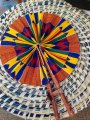 African Print Folding Fan from Ghana Kente