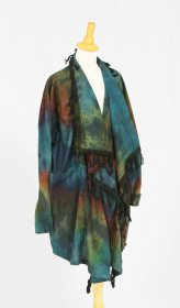 Tie Dye Jacket with Fringe Collar