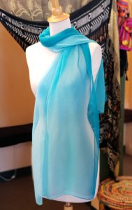 Turquoise Silk Blend Scarf