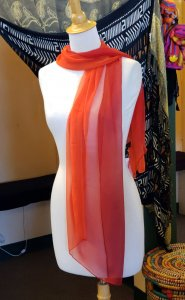 Red Ombre Silk Blend Scarf