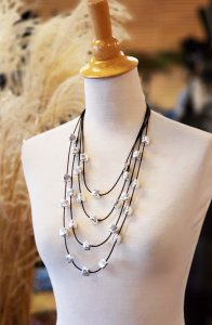 Silver and Leather Multi-Strand Necklace