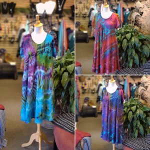 Tie-Dye Dress Cap Sleeves