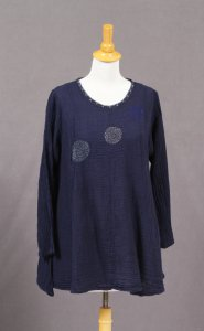 Cotton Top W/Embroidered Circles