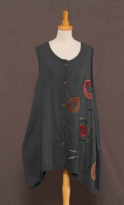 Textured Cotton Top/Vest w/Hand-painting